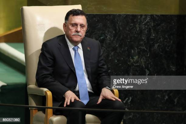 Fayez al-Sarraj, chairman of the Presidential Council of Libya, waits to address the United Nations General Assembly at UN headquarters, September...