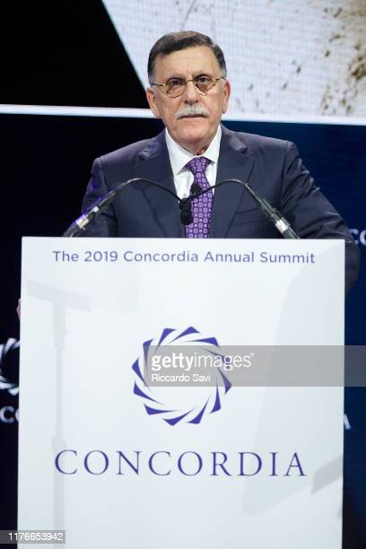 Fayez Al-sarraj, Prime Minister, Government Of National Accord Of Libya, speaks onstage during the 2019 Concordia Annual Summit - Day 1 at Grand...