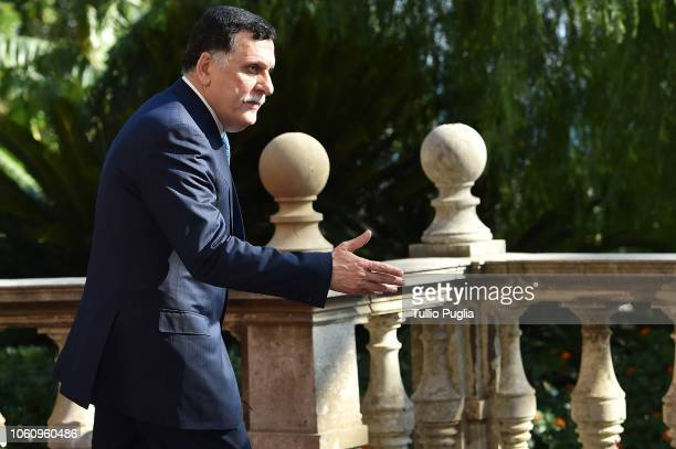 Fayez al-Sarraj , Prime Minister of Libya, attends the Conference for Libya at Villa Igiea on November 13, 2018 in Palermo, Italy. Heads of State,...