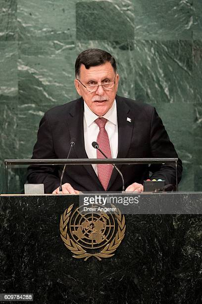 Fayez alSarraj Prime Minister of the Government of National Accord of Libya and chairman of the Presidential Council of Libya addresses the United...