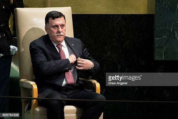 Fayez alSarraj Prime Minister of the Government of National Accord of Libya and chairman of the Presidential Council of Libya sits after addressing...