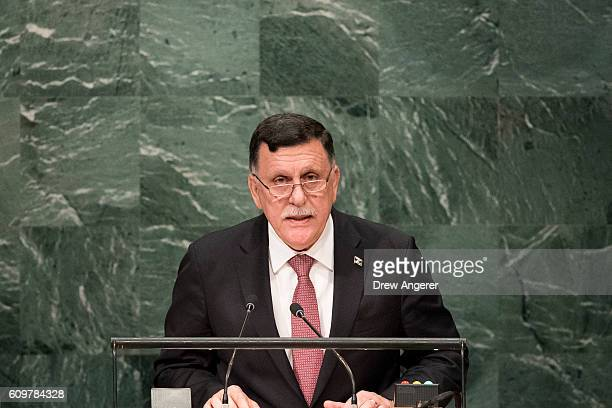 Fayez al-Sarraj, Prime Minister of the Government of National Accord of Libya and chairman of the Presidential Council of Libya, addresses the United...