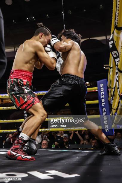 Faze Jarvis fights Michael Le during LivexLive's Social Gloves: Battle Of The Platforms PPV Livestream at Hard Rock Stadium on June 12, 2021 in Miami...