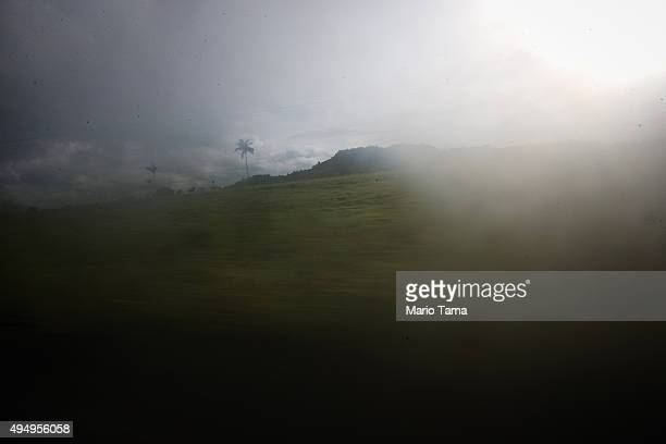 A fazenda is blurred while driving past on April 12 2015 in Santa Fé do Araguaia Tocantins state Brazil Many slavery cases in Brazil occur on fazendas