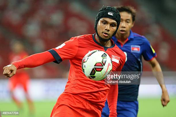 Fazrul Nawaz s/o Shahul Hameed of Singapore controls the ball during the 2018 FIFA World Cup Qualifier Group E Match between Singapore and Cambodia...