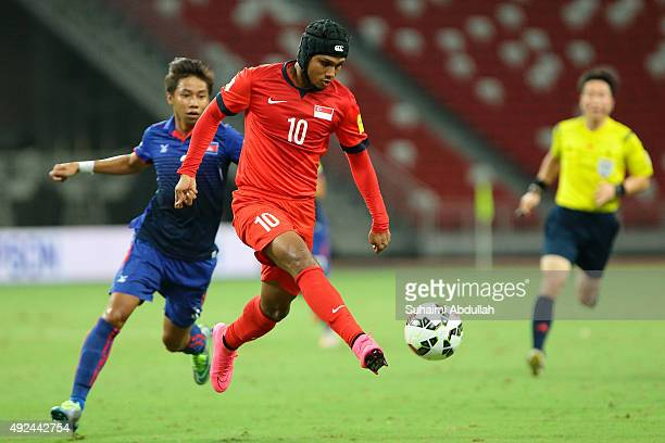 Fazrul Nawaz s/o Shahul Hameed of Singapore makes a pass during the 2018 FIFA World Cup Qualifier Group E Match between Singapore and Cambodia at...