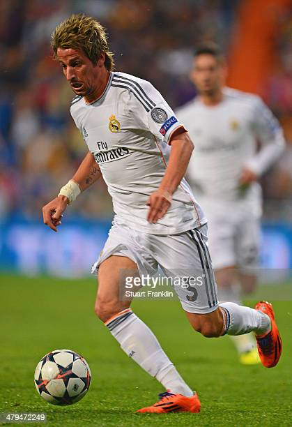 Fábio Coentrão of Madrid in action during the EEFA Champions League round of 16 second leg match between Real Madrid CF and FC Schalke 04 at Estadio...