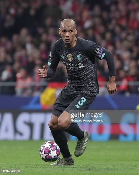 Fábio Henrique Tavares alias Fabinho of Liverpool FC controls the ball during the UEFA Champions League round of 16 first leg match between Atletico...