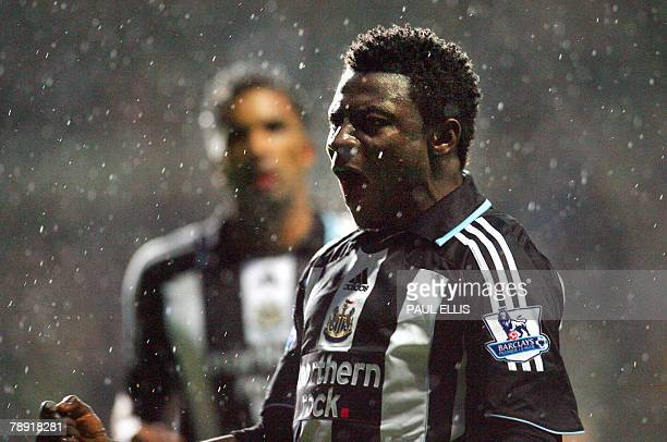 STORY FblAfr2008GpBNGRMartinsPROFILE This file picture dated 12 December 2007 shows Newcastle United's Obafemi Martins celebrating after scoring from...