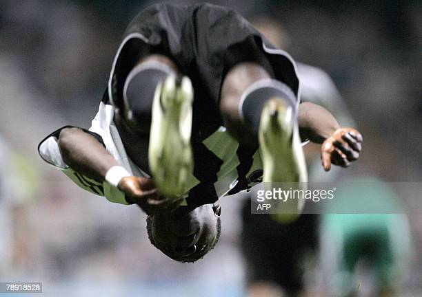 STORY FblAfr2008GpBNGRMartinsPROFILE This file picture dated 28 September 2006 shows Newcastle United's Obafemi Martins celebrating after scoring...