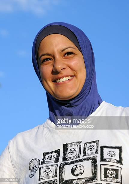 STORY 'FblAUSAsiaFIFAreligionIslamwomenFEATURE' by Amy Coopes AustralianEgyptian soccer player Assmaah Helal wears a Muslim head cover or hijab...