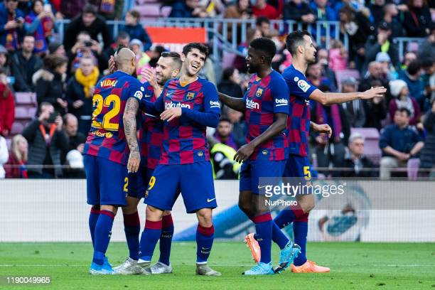 Fc Barcelona players celebration during the match between FC Barcelona and Deportivo Alaves played at the Camp Nou Stadium corresponding to the week...