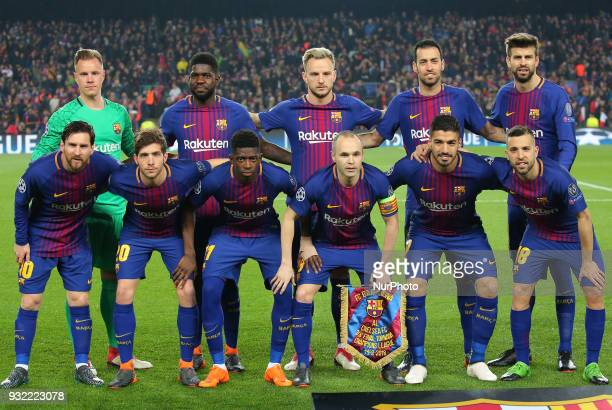 Fc Barcelona team during the match between FC Barcelona and Chelsea FC for the secong leg of the 1/8 final of the UEFa Champions League played at the...