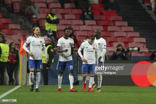 Fc Basel forward Dimitri Oberlin from Switzerland celebrates scoring Basel second goal during SL Benfica v FC Basel UEFA Champions League round six...