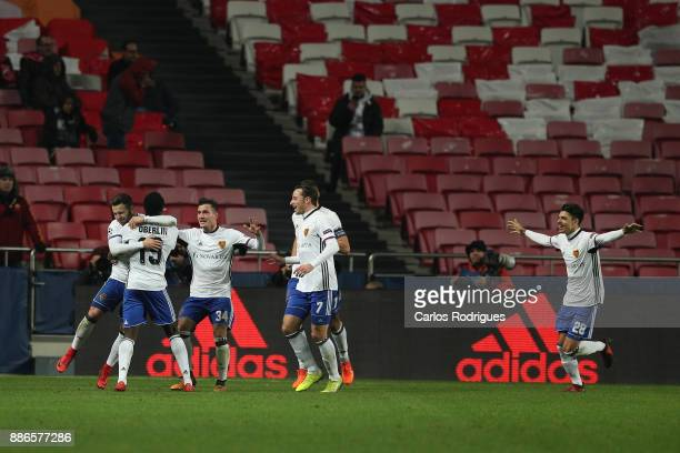 Fc Basel forward Dimitri Oberlin from Switzerland celebrates scoring Basel second goal with his team mates during SL Benfica v FC Basel UEFA...