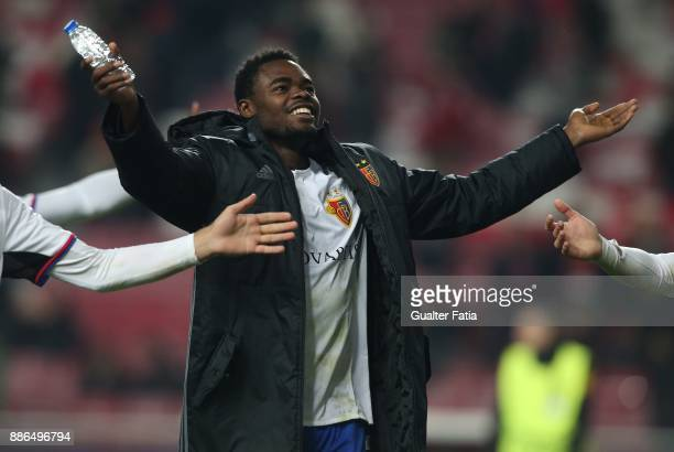 Fc Basel forward Dimitri Oberlin from Switzerland celebrates the victory at the end of the UEFA Champions League match between SL Benfica and FC...