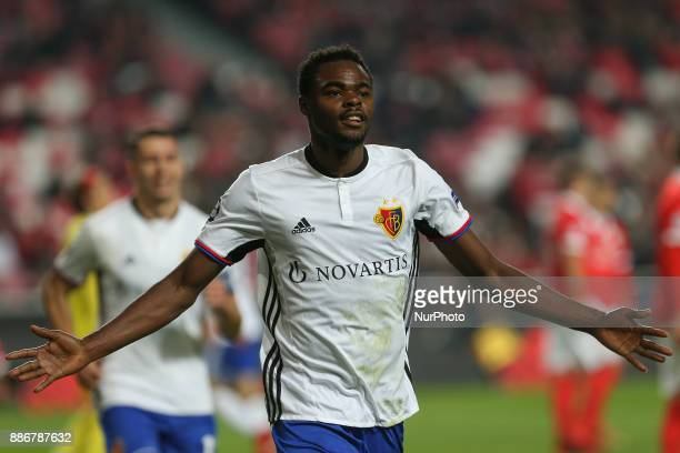Fc Basel forward Dimitri Oberlin from Switzerland celebrating after scoring a goal during the match between SL Benfica v FC Basel UEFA Champions...
