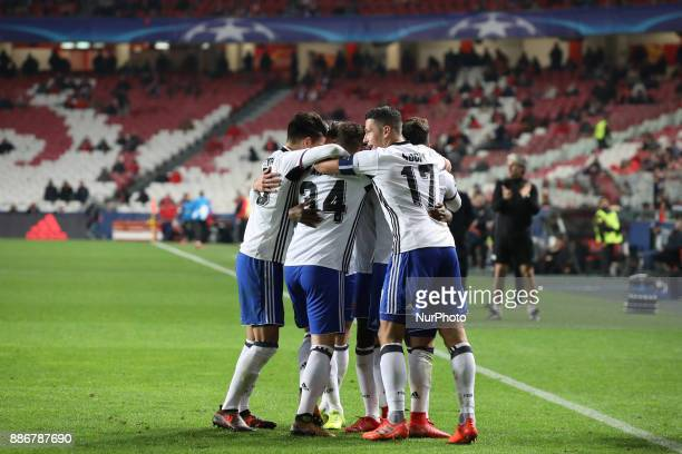 Fc Basel forward Dimitri Oberlin from Switzerland celebrating with is team mate after scoring a goal during the match between SL Benfica v FC Basel...