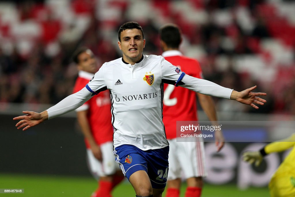 Fc Basel forward Moha Elyounoussi from Norway celebrates scoring Basel goal during SL Benfica v FC Basel - UEFA Champions League round six match at Estadio da Luz on December 05, 2017 in Lisbon, Portugal.