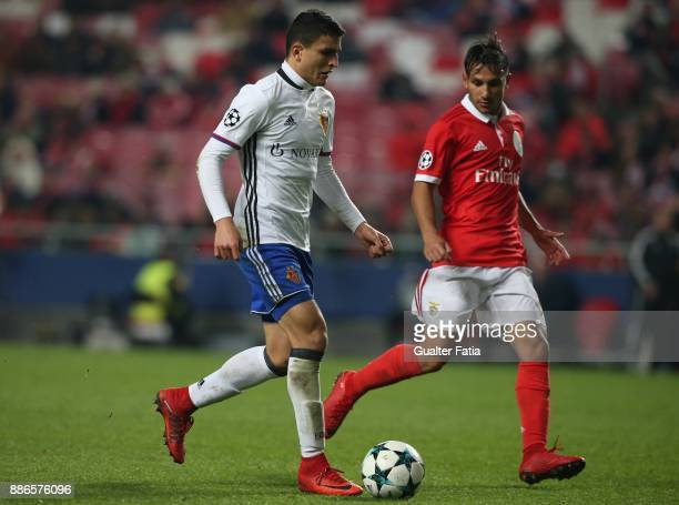 Fc Basel forward Moha Elyounoussi from Norway in action during the UEFA Champions League match between SL Benfica and FC Basel at Estadio da Luz on...