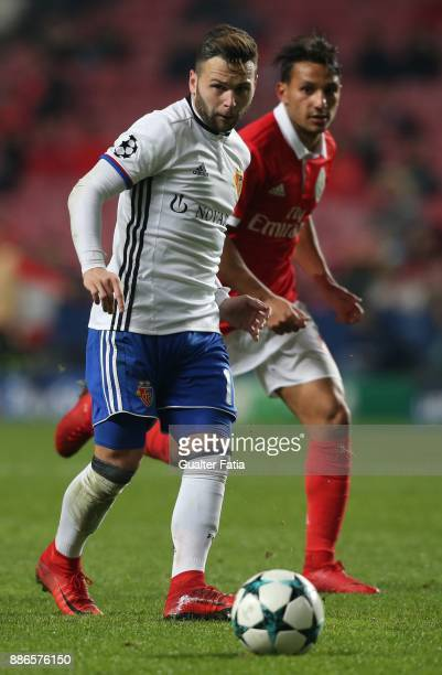 Fc Basel forward Renato Steffen from Switzerland in action during the UEFA Champions League match between SL Benfica and FC Basel at Estadio da Luz...