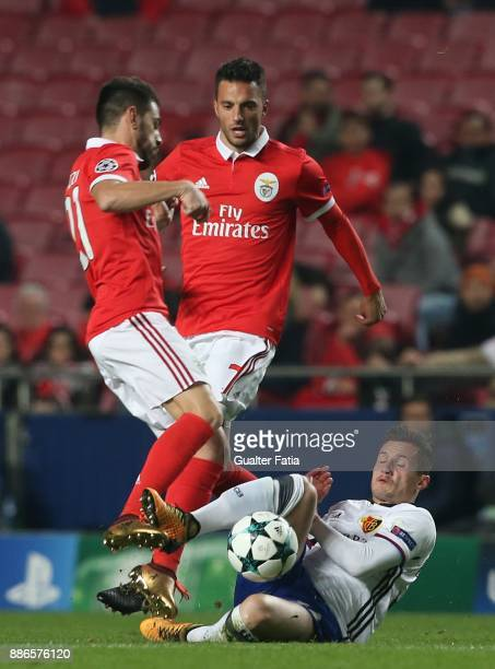 Fc Basel midfielder Taulant Xhaka from Albania in action during the UEFA Champions League match between SL Benfica and FC Basel at Estadio da Luz on...