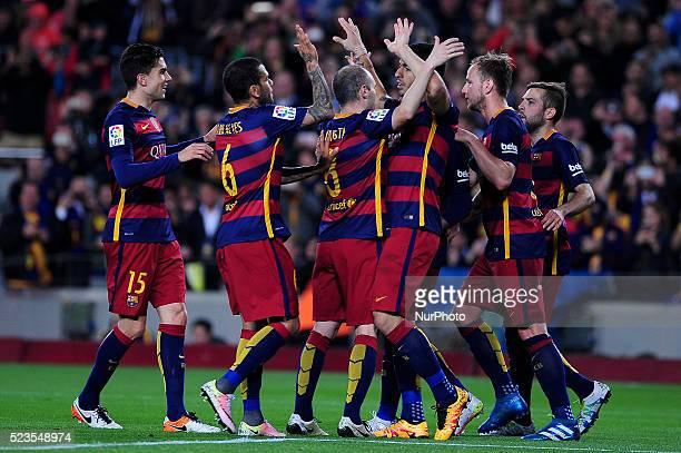FCBarcelona players celebrating Luis Suarez goal during FCBarcelona vs Sporting Spanish League match April 23 2016 in Barcelona Spain
