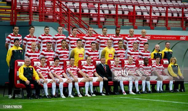 Hamilton FC squad for 2010/2011 Season..Back Row Damian Casalinuovo, Gary McDonald, David Elebert, Brian McQueen, Martin Canning, Andy Graham, Mark...