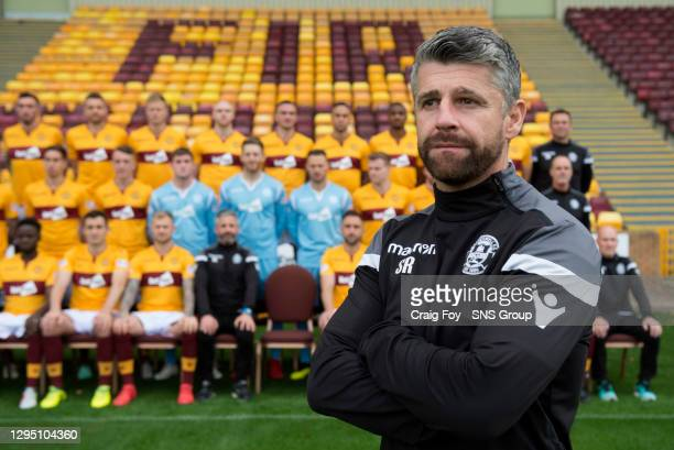 Motherwell manager Stephen Robinson is pictured in front of the Motherwell first team squad for the 2018/19 season