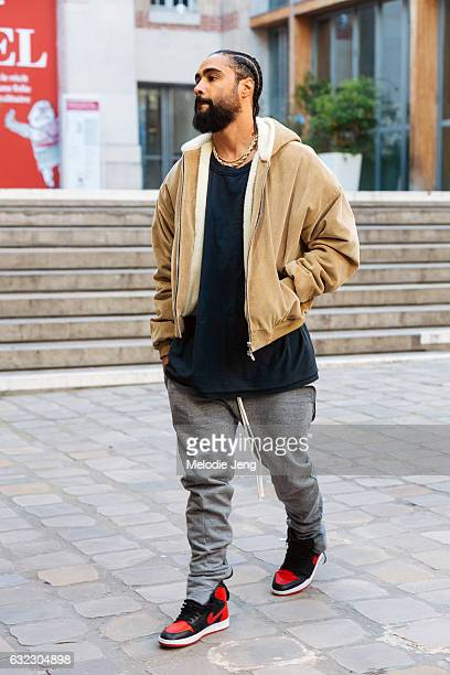 Fear of God designer Jerry Lorenzo after the Sacai show on January 21 2017 in Paris France
