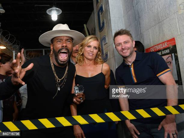 'Fear The Walking Dead' television series cast members Colman Domingo Kim Dickens and comedian and Nerdist Founder and CEO Chris Hardwick enter the...