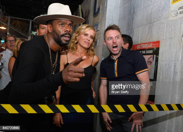 'Fear The Walking Dead' television series cast members Colman Domingo and Kim Dickens and comedian and Nerdist Founder and CEO Chris Hardwick enter...
