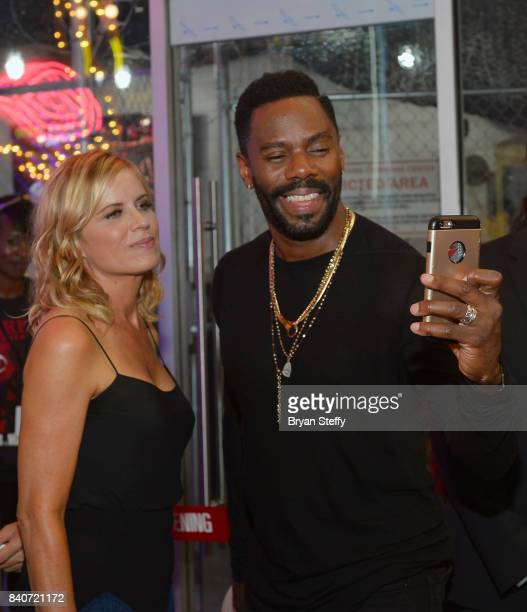 'Fear The Walking Dead' television series cast members Kim Dickens and Colman Domingo take a selfie during the grand opening of the Fear the Walking...
