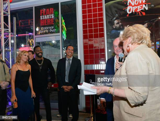 'Fear The Walking Dead' television series cast members Kim Dickens Colman Domingo and Michael Greyeyes and Fremont Street Experience President and...