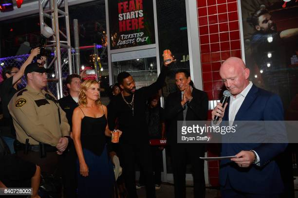 'Fear The Walking Dead' television series cast members Kim Dickens Colman Domingo and Michael Greyeyes listen as Fremont Street Experience President...