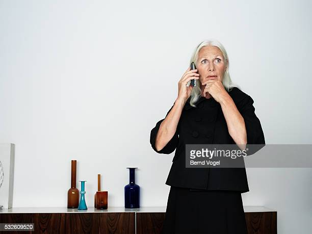 Fearful Senior Woman on the Phone