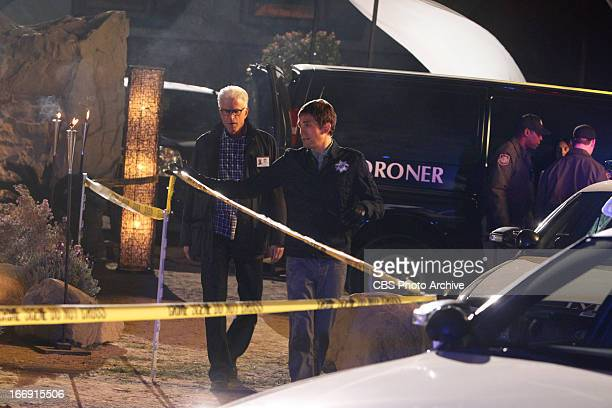 Fearless DB Russell arrives on the scene for a briefing from Greg Sanders on CSI CRIME SCENE INVESTIGATION Wednesday May 1 on the CBS Television...