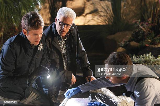 """Fearless"""" -- Greg Sanders , D.B. Russell and David Phillips look over a body at the crime scene, on CSI: CRIME SCENE INVESTIGATION, Wednesday, May 1..."""