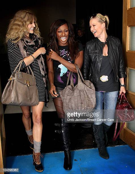 Fearne Cotton, Alexandra Burke and Denise Van Outen laugh as they leave a production meeting in North London on September 9, 2010 in London, England....