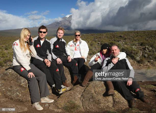 Fearne Cotton Ben Shephard Ronan Keating anf Denise Van Outen trek up Kilimanjaro on the second day of The BT Red Nose Climb of Kilimanjaro on March...