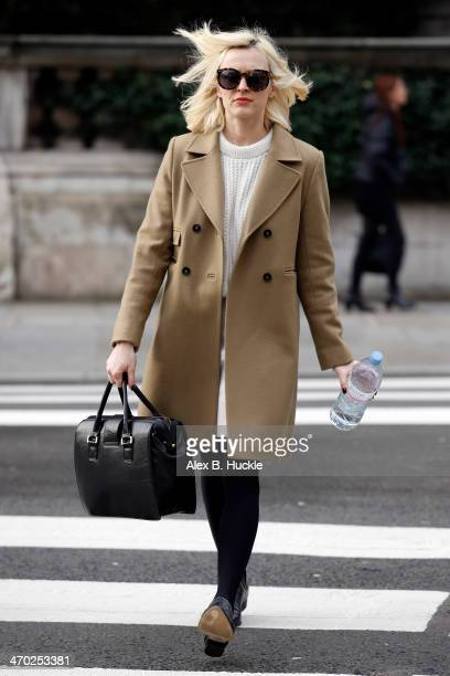 Fearne Cotton is seen arriving for work at BBC Radio 1 on February 19 2014 in London England