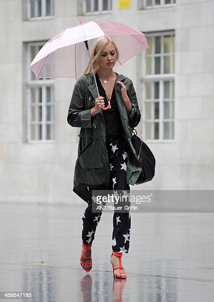 Fearne Cotton makes her way to BBC Radio 1 on a rainy Friday morning on September 06 2013 in London United Kingdom