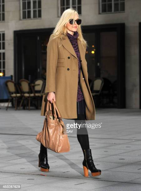 Fearne Cotton pictured arriving at BBC Radio 1 on December 3 2013 in London England