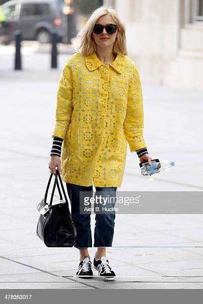 Fearne Cotton sighted arriving for work at the BBC Radio 1 studios on March 13 2014 in London England