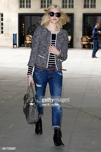 Fearne Cotton sighted arriving for work at the BBC Radio 1 Studios March 31 2014 in London England
