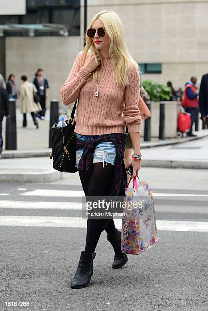 Fearne Cotton sighted walking from BBC Radio One on September 23 2013 in London England