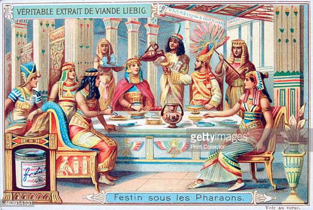 Feast at the time of the Pharaohs Ancient Egypt c1900 French advertising card for Liebig Meat Extract