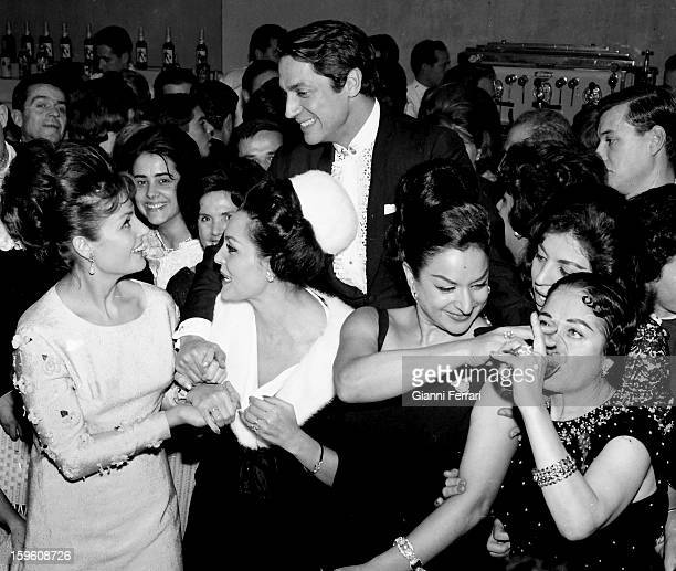 Feast for the christening of Rosario daughter of the Spanish singer and dancer Lola Flores actresses Carmen Sevilla and Paquita Rico Lola Flores and...