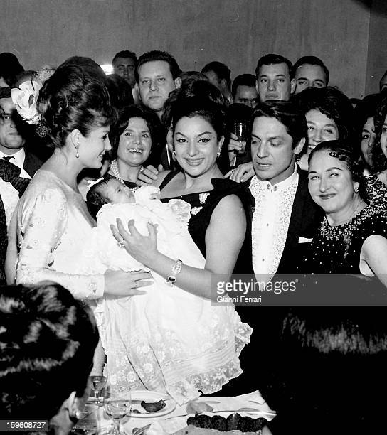 Feast for the christening of Rosario daughter of the Spanish singer and dancer Lola Flores Spanish actress Carmen Sevilla Lola Flores the Spanish...