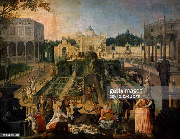 Feast in the gardens of the Duke of Mantua painting by Sebastien Vrancx oil on canvas5x1905 cm